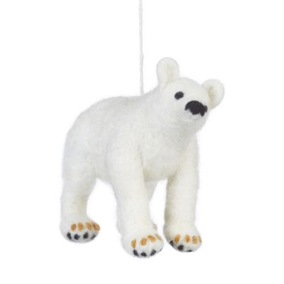 Handmade Felt Polar Bear Biodegradable Hanging Decoration