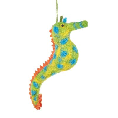 Handmade Felt Sandy Seahorse Hanging Biodegradable Decoration