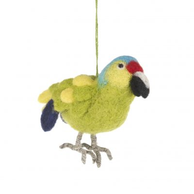 Handmade Needle Felted Paco the Parrot Fair trade Hanging Decoration