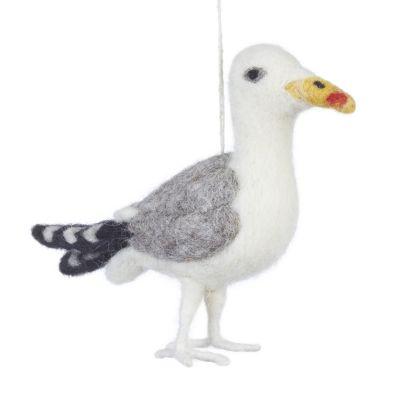 Handmade Sustainable Needle Felt Hanging Seagull Decoration