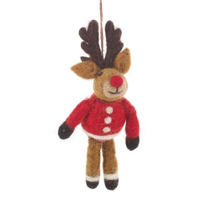 Handmade Felt Biodegradable Christmas Rudolph in his Christmas Jumper Hanging Decoration