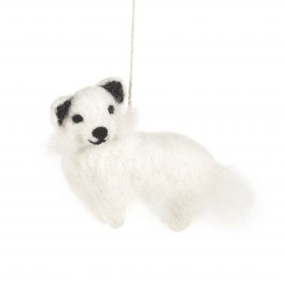 Arctic Fox Handmade Felt Biodegradable Christmas Hanging Decoration