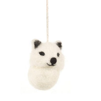 Baby Arctic Fox Handmade Felt Biodegradable Christmas Hanging Decoration