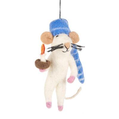 Handmade Needle Felt Bedtime Mouse Hanging Decoration