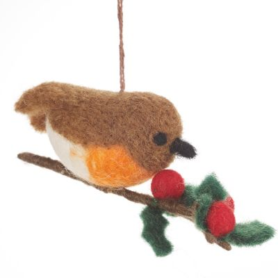 Handmade Robin on a Holly Branch Christmas Tree Hanging Decoration
