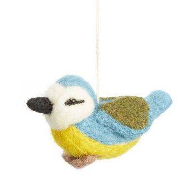 Hanging Needle Felt Blue Tit Decoration