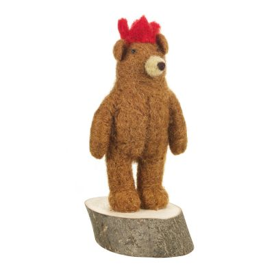 Brown Bear on Wooden Base