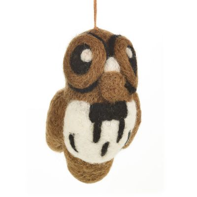 Handmade Felt Brown Owl Hanging Decoration