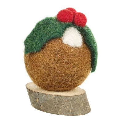 Christmas Pudding On Wooden Base