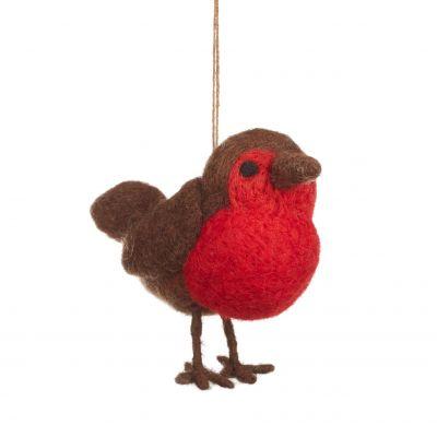 Handmade Needle Felt Fat Robin Hanging Decoration