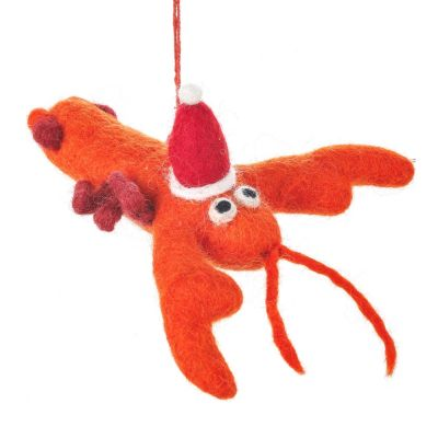 Handmade Felt Biodegradable Festive Lobster Tree Hanging Decoration