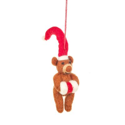 Handmade Felt Lil Santa Bear Hanging Christmas Decoration