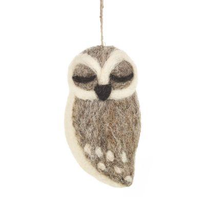 Grey Owl Biodegradable Handmade Hanging Needle Felt Decoration