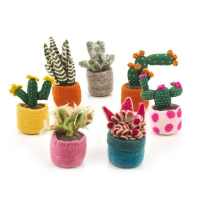 Handmade Biodegradable  Felt Cactus Standing Decoration