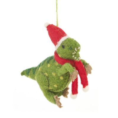 Handmade Biodegradable Felt Hanging Christmas Dinosaur Tree Decoration