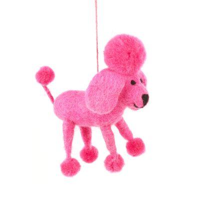 Handmade Biodegradable Felt Hanging Perez the Poodle Dog Decoration