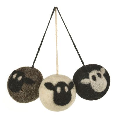 Handmade Biodegradable Felt Sheep Baubles Hanging Easter Decoration