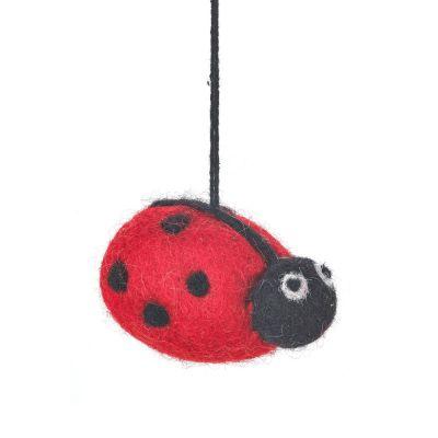 Handmade Biodegradable Needle Felt Lenny Ladybird Hanging Decoration
