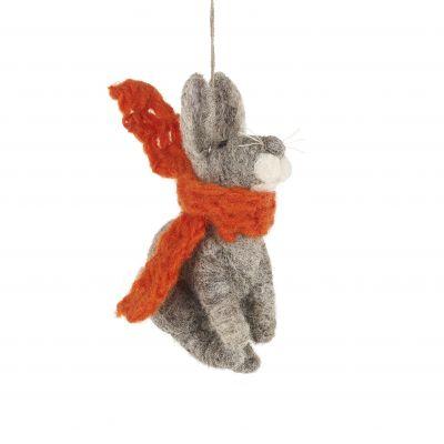 Handmade Bunny with Orange Scarf Hanging Felt Decoration
