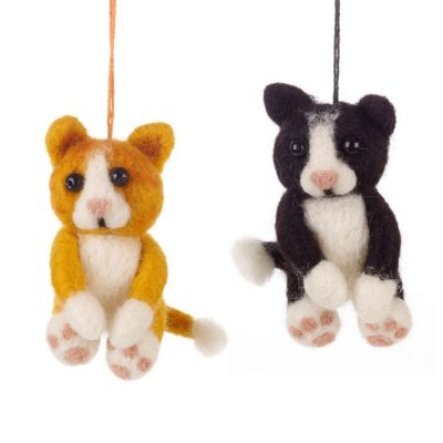 Handmade Felt Cat Family Biodegradable Hanging Decorations