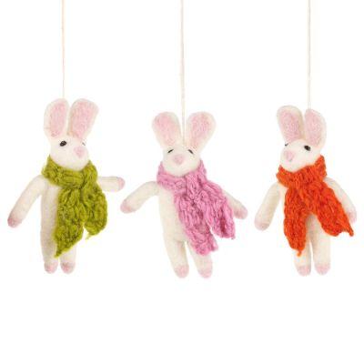 Handmade Cosy Bunny Hanging Needle Felt Easter Decoration