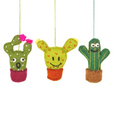Handmade Fair trade Crazy Cacti Hanging Felt Decoration