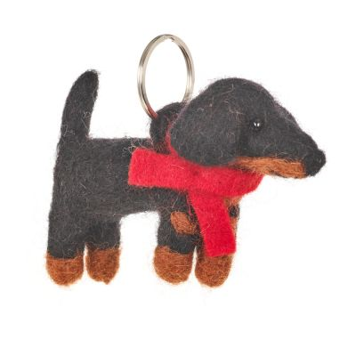 Handmade Fair trade Needle Felt Dachshund Dog Keyring