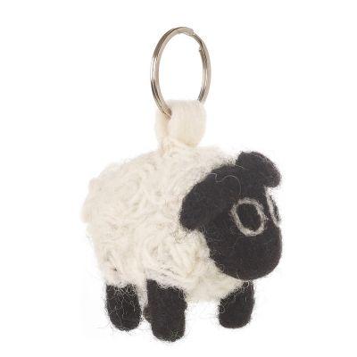 Handmade Fair Trade Needle Felt Black Sheep Keyring