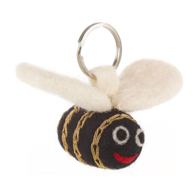 Handmade Fair trade Needle Felt Golden Bee Keyring