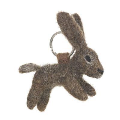 Handmade Fair trade Needle Felt Hare Keyring
