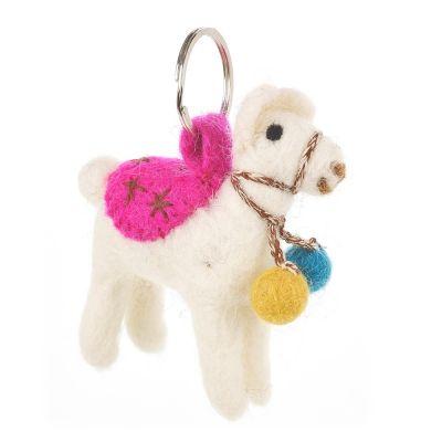 Handmade Fair Trade Needle Felt Llama Keyring
