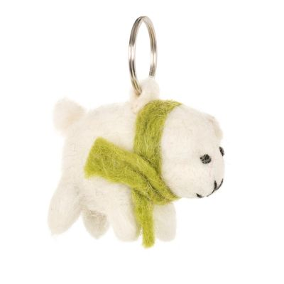 Handmade Fair trade Needle Felt Minty the Lamb  Keyring