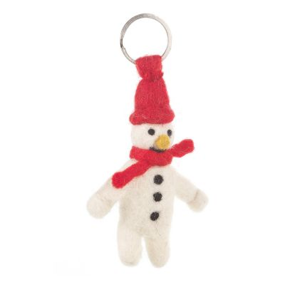 Handmade Fair trade Needle Felt Mr. Snowman  Christmas Keyring