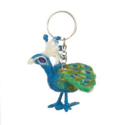 Handmade Fair trade Needle Felt Peacock  Keyring