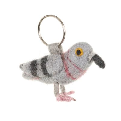 Handmade Fair trade Needle Felt Pigeon Keyring