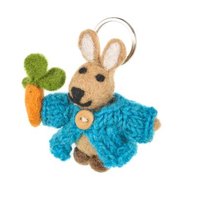 Handmade Fair trade Needle Felt Rabbit in Cardigan Keyring