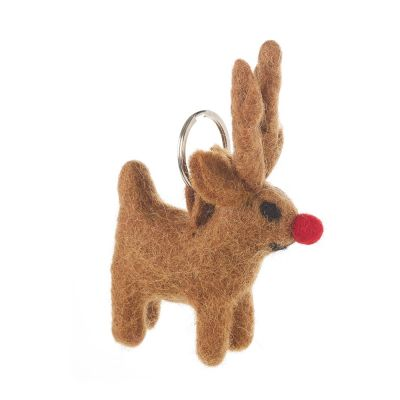 Handmade Fair trade Needle Felt Rudolph Christmas Keyring