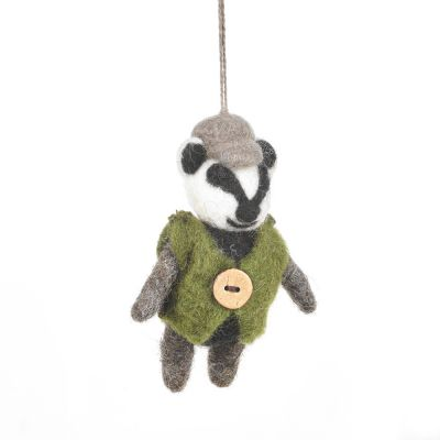 Handmade Needle Felt Barry Badger Hanging Decoration