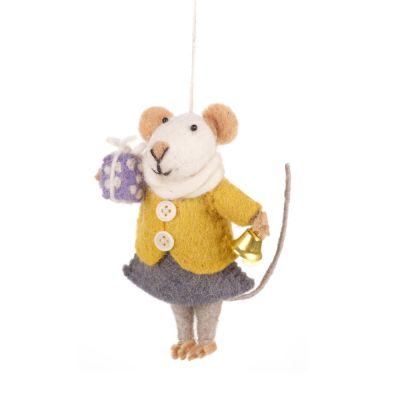 Handmade Felt Agnes Mouse Fair Trade Hanging Decoration