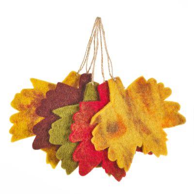 Handmade Felt Fair trade Autumnal Leaves (Set of 5) Hanging Decorations