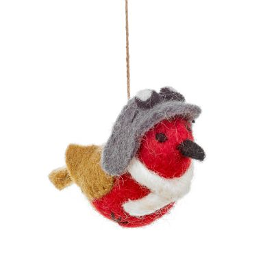 Handmade Felt Aviator Robin Hanging Christmas Decoration