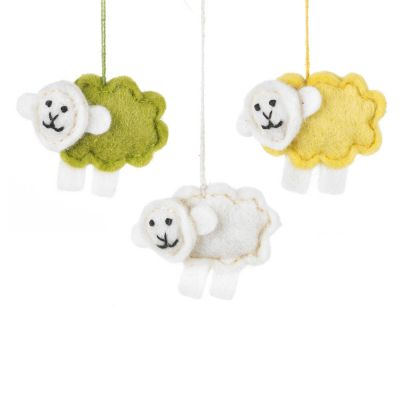 Handmade Felt Baby Sheep Set of 3 Hanging Easter Decorations