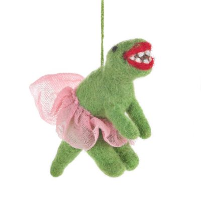Handmade Felt Ballerina Dinosaur Hanging Biodegradable Decoration