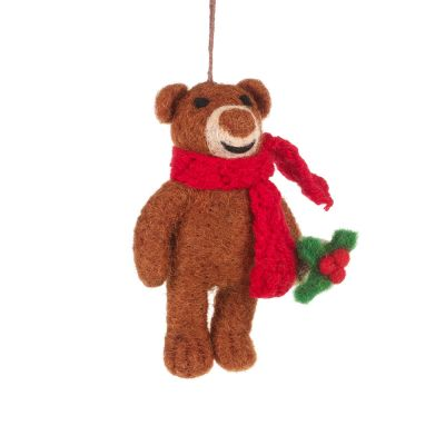 Handmade Felt Biodegradable Bear with Scarf Hanging Christmas Decoration