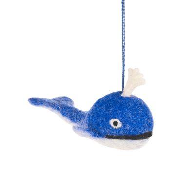 Handmade Felt Biodegradable Blue Whale Hanging Decoration