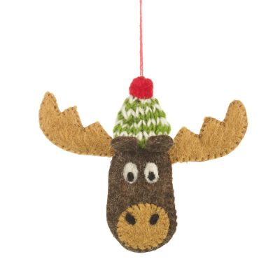 Handmade Felt Biodegradable Bully the Moose Christmas Tree Hanging Decoration