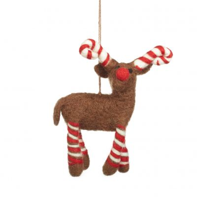 Handmade Felt Biodegradable Candy Legged Reindeer Christmas Tree Hanging Decoration