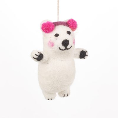 Handmade  Felt Biodegradable Christmas Baby Polar Bear Hanging Decoration