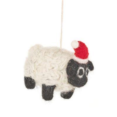 Handmade Felt Biodegradable Christmas Black Sheep Tree Hanging Decoration