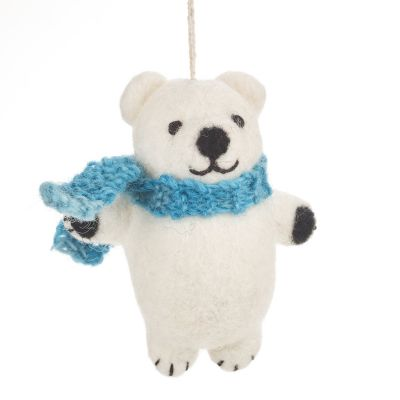 Handmade Felt Biodegradable Christmas Cuddly Polar Bear Hanging Decoration